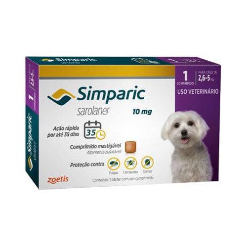 Antipulgas Cães Simparic 10mg 2,6 à 5kg Zoetis