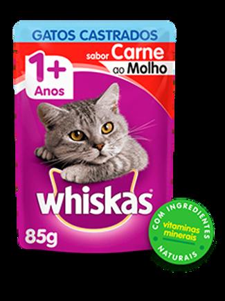 Sachê WHISKAS para Gatos Castrados Adulto Sabor Carne ao Molho - 85 G