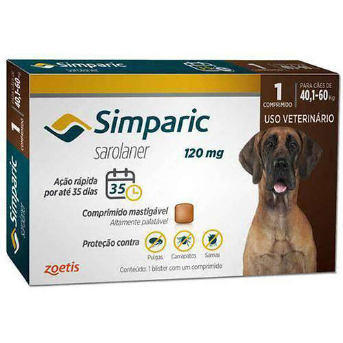 Antipulgas Cães Simparic 120mg 40,1 à 60kg Zoetis