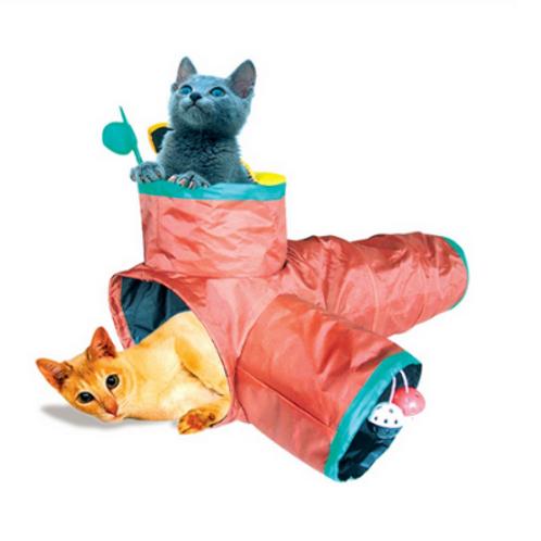 Brinquedo Chalesco para Gatos Túnel com 3 Saídas