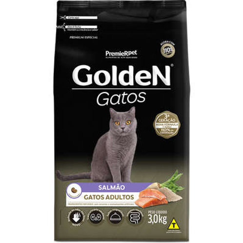 Ração Golden para Gatos Adultos Salmão - 3.0 Kg