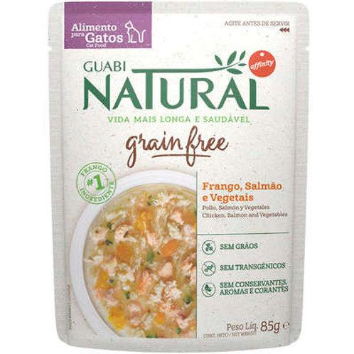 Ração Úmida Guabi Natural Grain Free Frango, Salmão e Vegetais Gatos Castrados
