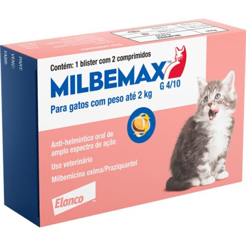 Vermífugo Milbemax G Gatos Elanco 0,5 a 2kg