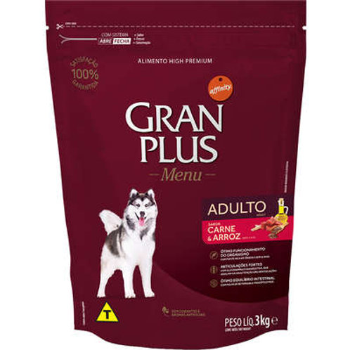 Ração GRANPLUS Menu para Cães Adultos Sabor Carne & Arroz