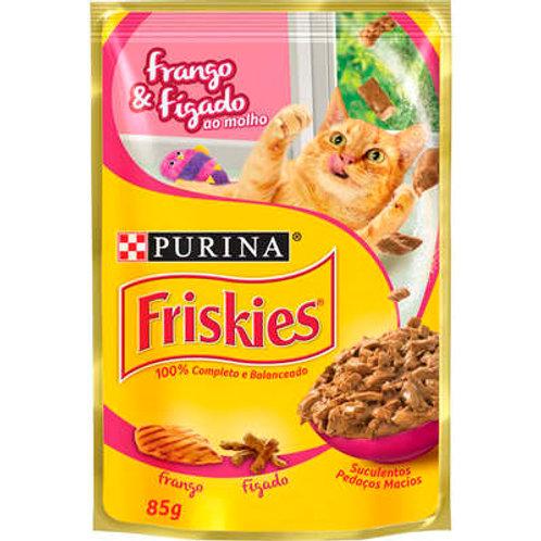 Sachê Purina Friskies para Gatos Adultos - Frango e Fígado ao Molho