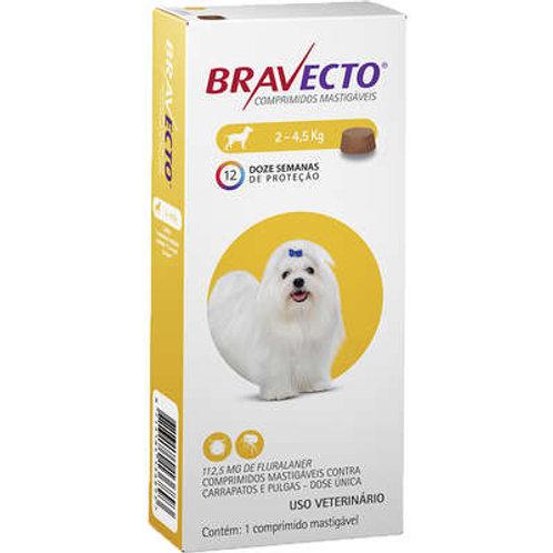 Bravecto até 4,5kg Antipulgas Oral Cães Comprimido Mastigável 112,5mg