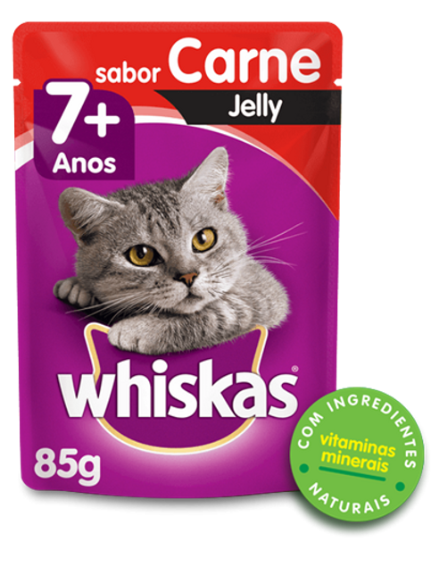 Sachê WHISKAS para Gatos Idosos Sênior Adulto Sabor Carne Jelly
