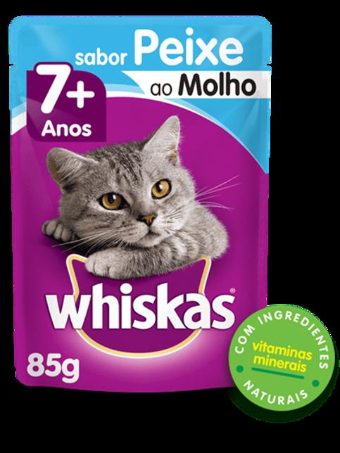 Sachê WHISKAS para Gatos Idosos Sênior Adulto Sabor Peixe ao Mol