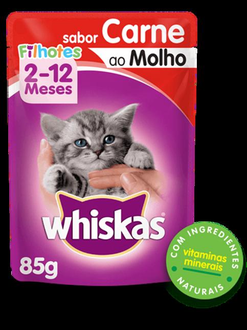 Sachê WHISKAS para Gatos Filhotes Sabor Carne  - 85 Gao Molho