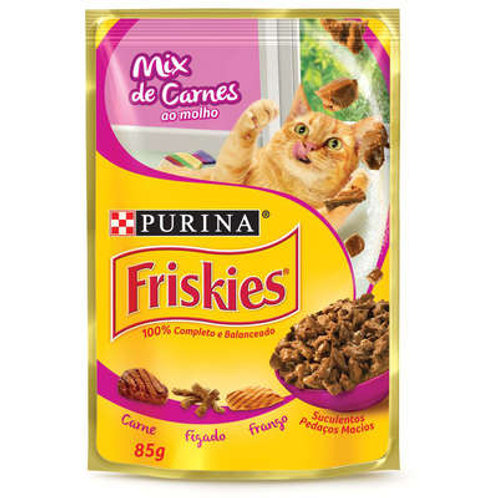 Sachê Purina Friskies para Gatos - Mix de Carnes ao molho