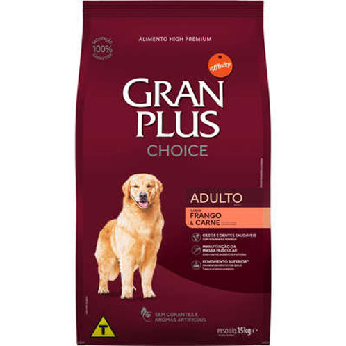 Ração GRANPLUS Choice para Cães Adultos Sabor Frango & Carne - 15 Kg