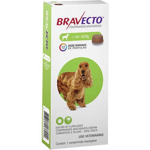 Bravecto 10 a 20kg Antipulgas Oral Cães Comprimido Mastigável 500mg