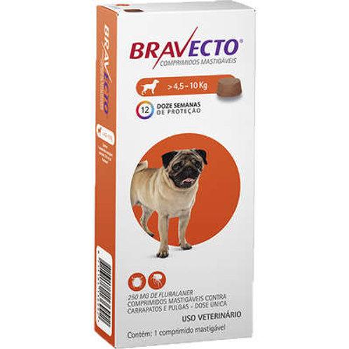 Bravecto 4,5 a 10kg Antipulgas Oral Cães Comprimido Mastigável 250mg