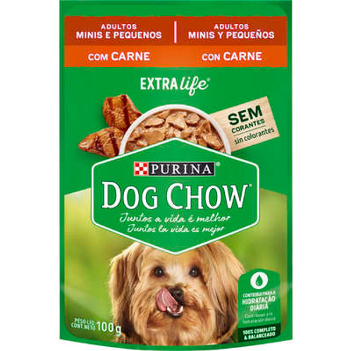 Sachê Dog Chow para Cães Adultos Mini e Pequeno Porte Sabor Carne