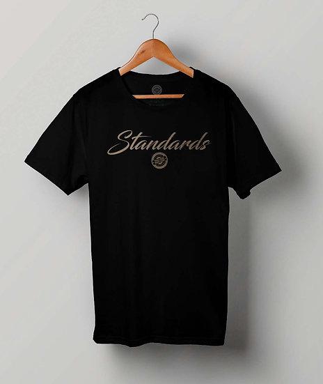 """STANDARDS""Black T-Shirt (Gold Print)"
