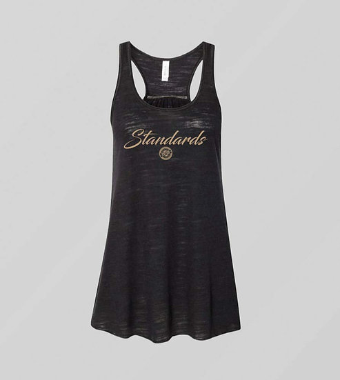 "Womens ""Standards"" Black Tank (Gold Print)"