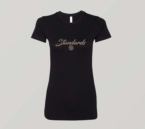 "Womens ""Standards"" Black T-Shirt (Gold Print)"