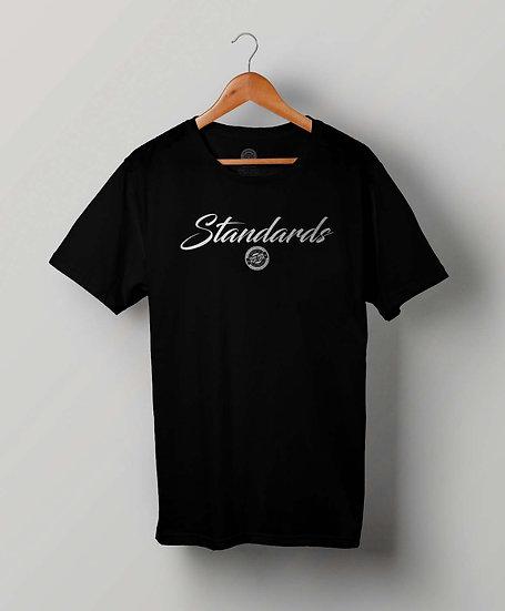 """STANDARDS""Black T-Shirt (White Print)"