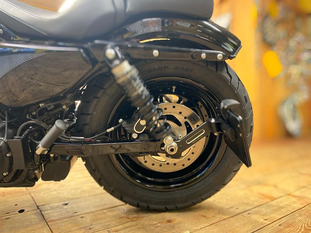 Harley-Davidson 48, Sportster Forty eight, Heckumbau, 180 er Reifen, seitlicher Kennzeichenhalter,