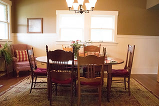 Table and chairs in dining area available for meetings