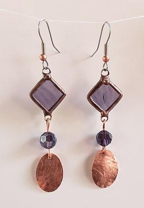 Foiled Transparent Purple Glass Earrings