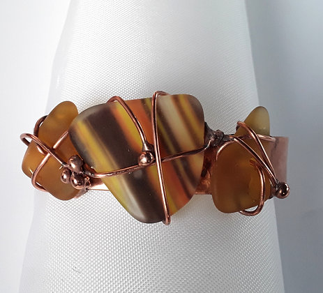 Copper Cuff Bracelet with Variegated Tumbled  Glass