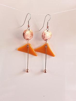 Deep Orange Glass Earrings