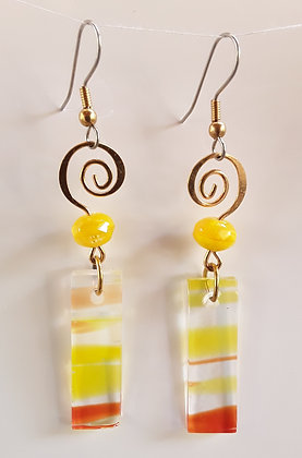 Variegated Yellow/Orange Glass Earrings
