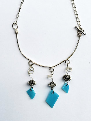 Silver Wire Necklace with Turquoise Fused Glass