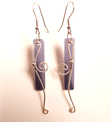 Transparent Purple Glass Earrings