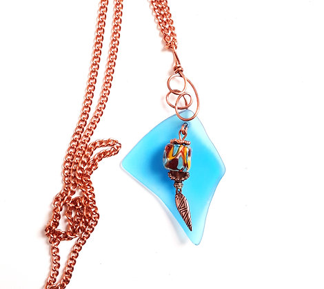 Turquoise Glass Pendant with Chain