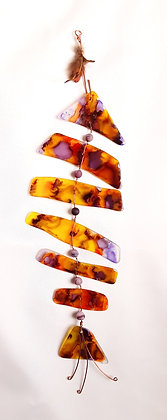 Alcohol Ink Glass Bone Fish
