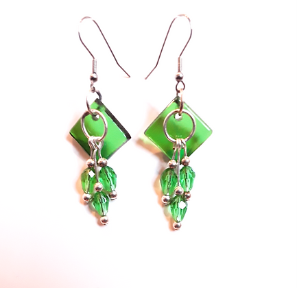 Transparent Green Glass Earrings