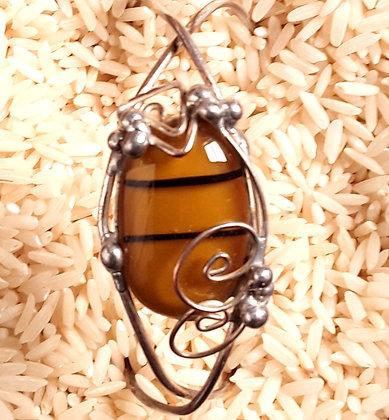 Gold Fused Glass Wire Wrap Bracelet