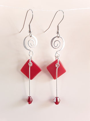 Opaque Fused Red Glass Earrings