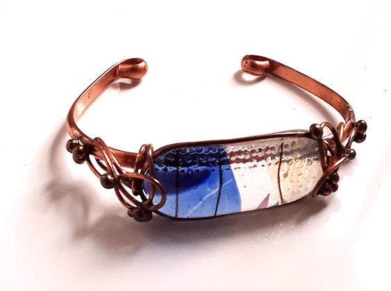 Blue Variagated Glass Wrap Bracelet