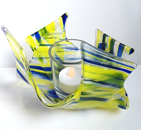 Blue/Yellow Glass Votive Candle Holder