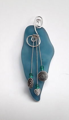 Tumbled Turquoise Glass Pendants