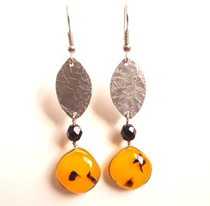 Orange/Black Glass Earrings