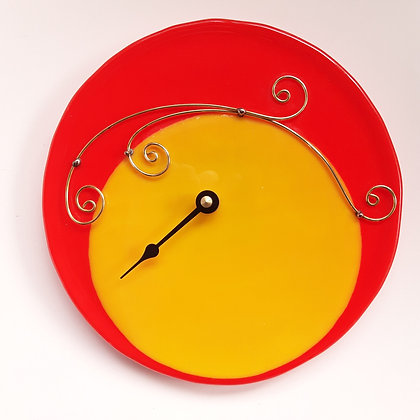 Fused Yellow and Orange Glass Tide Clock