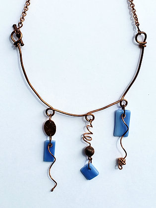 Copper and Blue Fused Glass Necklace