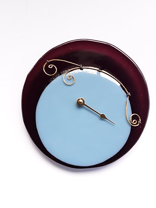 Fused Blue and Purple Glass Tide Clock