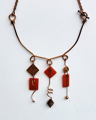 Copper and Red Fused Glass Necklace