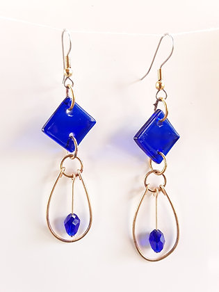 Transparent Blue Fused Glass Earrings