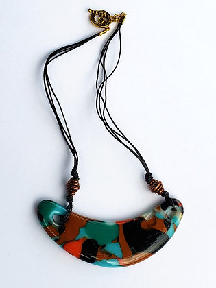 Fused Turquoise Multi Colored Glass Necklace