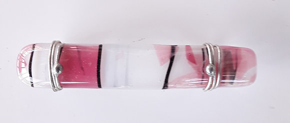 Small Pink Variegated Glass Hair Clip