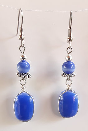 Opaque Blue Fused Glass Earrings