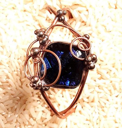 Blue Dichroic Glass Wire Wrap Bracelet