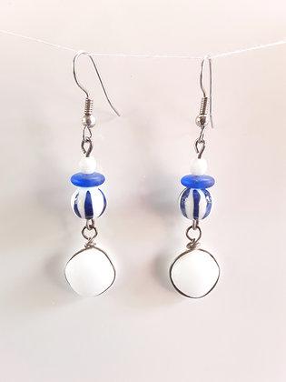 White Fused Glass Earrings