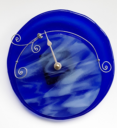 Fused Blue Glass Tide Clock